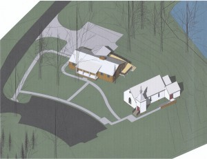 Site rendering showing St. Philip's alongside the existing house