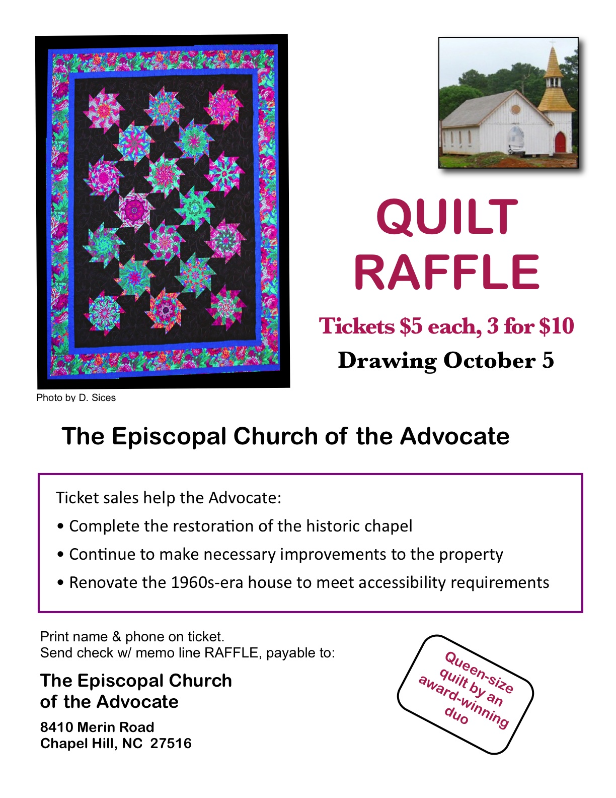 raffle for handmade quilt to help raise funds for chapel raffle poster