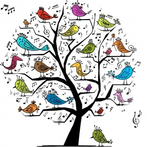 Birds singing clip art